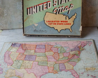 1960s Parker Brothers United States Puzzle Wooden Us Puzzle Collectible Puzzle Mid Century