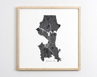 Seattle Washington - City Street Map - Art Print Wall Art Home Decor