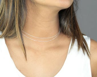 Chain Choker Necklace-Sterling Silver Chain Choker-Gold Filled Chain Choker-Wrap Chain Choker-Dainty Chain Choker-Simple Choker-Gift for her