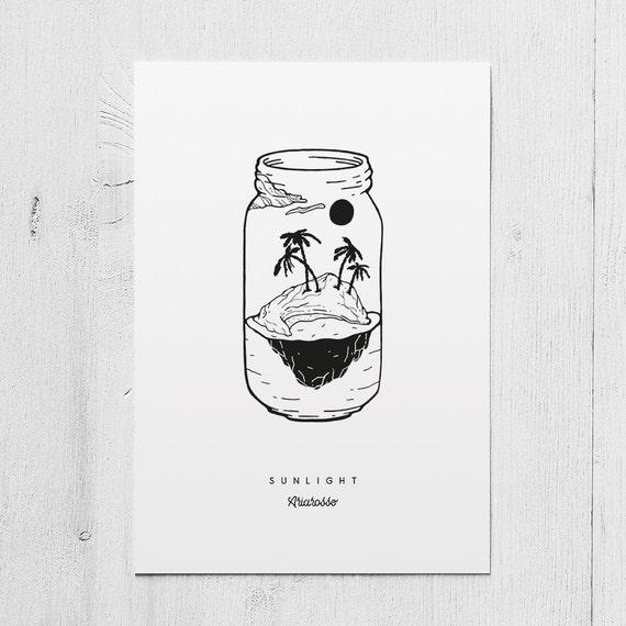 Poster Art Print - Summer Vibes Part II: Sunlight Blackwork Series A5 ...