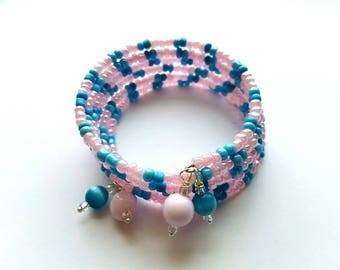 Layered Memory Wire Bracelet with Baby Blue and Pink Glass Seed Beads and Glass Bauble Ends