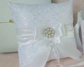 Wedding ring bearer pillow, Ivory or White ring bearer pillow, Lace ring pillow, Sash ring pillow, Ring boy pillow
