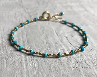 turquoise dainty gold beaded bracelet