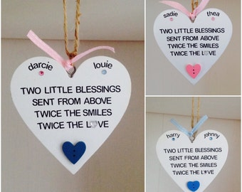 Personalised Baby Twin Quote Hanging Plaques - Twins Gifts - Twin Baby Gifts - Twin Christening Baptism Gift - Twin Keepsake Gift