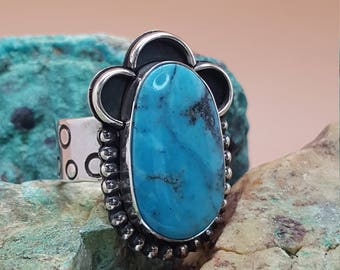 Morenci Turquoise set in Sterling Silver RIng Sz 7