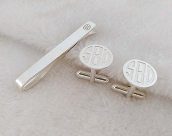 Cufflinks and Tie Clip,Mix and Match Tie Clip and Cufflinks,Groomsmen Tie Clip,Monogram Cufflinks,Personalized Wedding Tie Clip for Groom