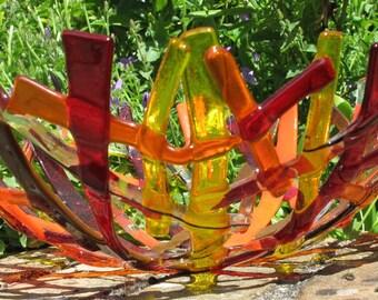 Fruit bowl, Fused glass bowl, Orange glass bowl, Large glass bowl, Modern fruit bowl, Decorative bowl, Fused glass bowls, Red glass bowls,