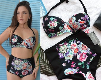 High waisted bikini swimsuit set  / High waisted Swimsuit / Padded bikini / Floral bikini / Plus size bikini