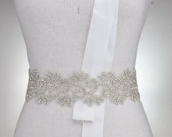 "SALE - 34"" Rhinestone Wedding Sash Bridal Sash Belt Wedding Dress Sash Crystal Rhinestone Belt Bridal Sash Belt Sale Item"