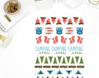 Camping Stickers! Perfect for your Erin Condren Life Planner, calendar, Paper Plum, Filofax!