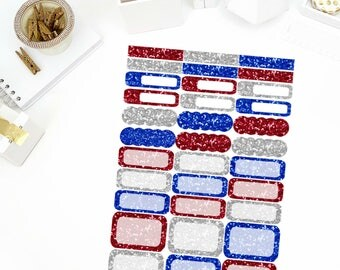 4th of July Glitter Functional Sheet Stickers! Perfect for your Erin Condren Life Planner, calendar, Paper Plum, Filofax!