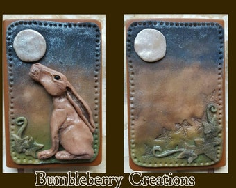 Moon gazing Hare A6 polymer clay and faux leather journal/notebook *made to order