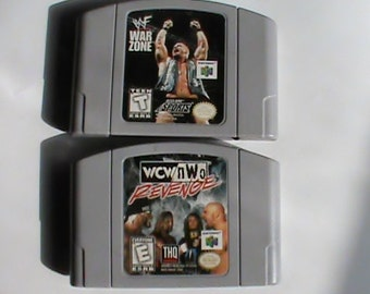 Nintendo 64 game cartridge lot two different Wrestling games original used