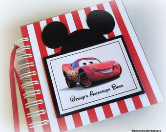 PERSONALIZED Disney Autograph Book Scrapbook Travel Journal Vacation Photo Album mcqueen c886