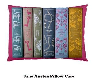 Jane Ausen Pillow Case, pillow, bedding, bedrrom, 19th century, Victorian Literature, books, Jane Austen