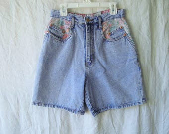 90s Floral High Waisted Jean Shorts
