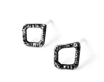 Wee Diamond Oxi Studs, 925, Sterling Silver, Earrings, Oxidized, Handmade, Made in Ontario, Canada