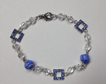 Glass crystal RHINESTONE BRACELET Bangle means:, Murano glass beads and rhinestones.