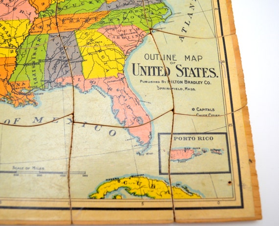 Antique United States Map Wood Puzzle Milton Bradley Outline - Us jigsaw map wood