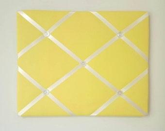 Yellow French Memo Board - Yellow Fabric Ribbon Board - Yellow Message Board - Yellow Pin Board - Fabric Board Command Center - Memory Board