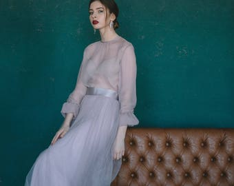 Vintage wedding dress, Ball gown wedding dress, Custom wedding dress, Summer wedding dress, Bohemian Silk Tulle wedding dress, 0135 // 2017
