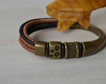 Suede multistrand bracelet Bronze magnet clasp bracelet Genuine leather bracelet Leather cord bangle Suede bangle Bronze beaded bracelet