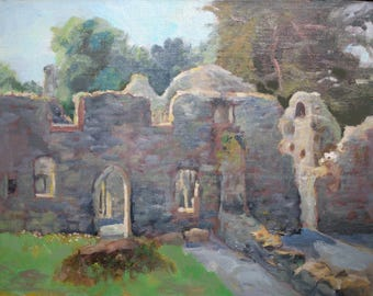 Portumna Abbey, Ireland, Original Oil Painting