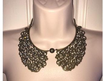 Bronze Metal Statement Collar Bib Reticulated Rhinestone Necklace