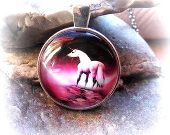 Necklace Unicorn necklace Unicorn cabochon necklace