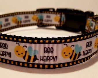 Bee happy dog collar
