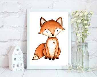 Woodland Nursery Decor, Woodland Nursery Wall Art, Woodland printables, Fox Nursery Decor, Animal Prints for kids, Fox Nursery Print
