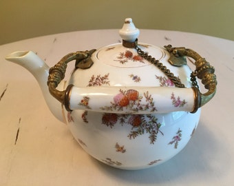 Pretty Porcelain Teapot with Brass Handle and Chain