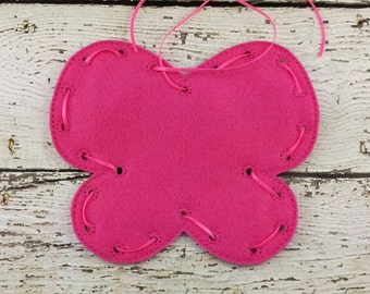 Butterfly Lacing Card, Quiet Game, Toddler Toy, Travel Toy, Party Favor