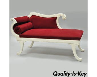 Small Vintage French Empire Style Carved Wood Red White Chaise Lounge Fainting Couch  sc 1 st  Etsy : chaise lounge fainting couch - Sectionals, Sofas & Couches
