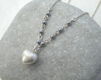 Sterling silver heart necklace - silver chain - grey hematite necklace - heart pendant - bridal jewelry (f234)