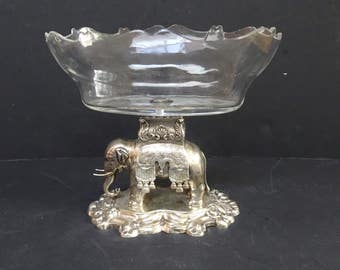 19th Century very Ornate German Silver Elephant with Glass bowl.  Guthenberg.