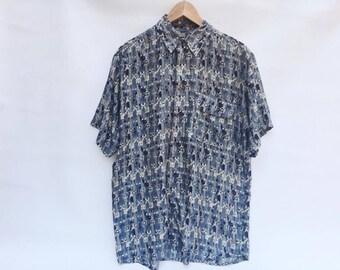 Men's 90's Silk shirt / Unisex 90's Silk Shirt / Swing Shirt Coloured / 90s Optical Shirt / Men's Shirt Dancer / Shirt XL