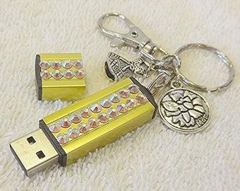 SALE-Rhinestone USB, Swarovski Crystal 32GB Memory Stick Keychain, Gold Flash Drive, Gift for Mom
