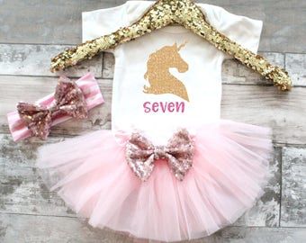 Baby Girl Clothes 7th Birthday 7 Unicorn Tutu Set, Unicorn Birthday, Unicorn Shirt, Unicorn birthday shirt, Unicorn tutu outfit, Unicorn