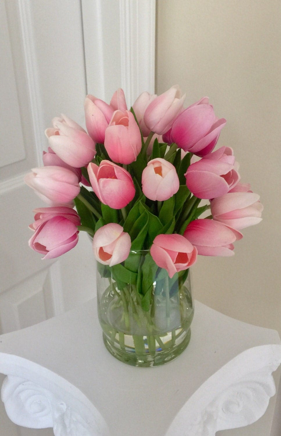 Pink tulip arrangement tulips floral centerpiece white