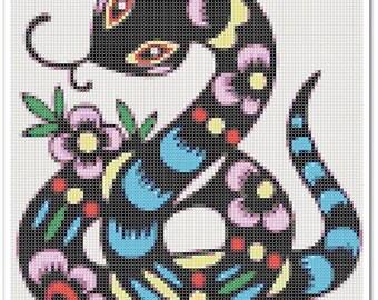 Snake Cross Stitch Pattern, Snake x stitch pattern, colorfull Cross stitch Embroidery, Embroidery pattern