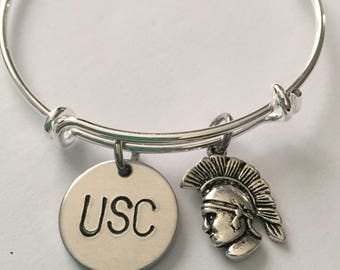 USC bracelet with Trojan Mascot and USC hand stamped charms