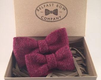 Handmade Father & Son Harris Tweed Bowtie Gift Set in Raspberry
