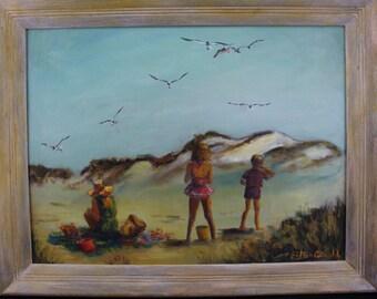 "Oil Painting California Sand Dunes Beach Family Day Original  28"" x 22"" ""Summer Sun"""