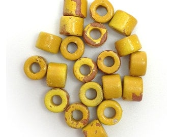 20 ceramic cylinder, Yellow spotted, 6mm, ceramic beads, ceramic beads, greek beads, mykonos, yellow tube beads, 6 mm beads, spacers beads