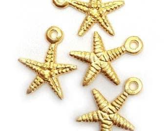 4 pendant, starfish, gold plated, 18mm, 4 PCs., mari