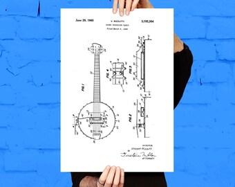 Banjo Print, Banjo Poster, Banjo Patent, Banjo Decor, Banjo Design, Banjo Wall Art, Banjo Blueprint, Banjo Art