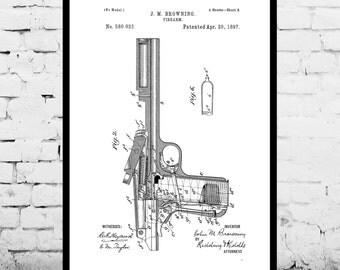 PISTOL Poster, Pistol Patent, Pistol Print, Pistol Art, Pistol Decor, Pistol Blueprint, Revolver
