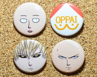 One Punch Man Pinback Button Set (4 Pins) - Saitama x2, OPPAI and Genos Buttons - OPM Anime Pins