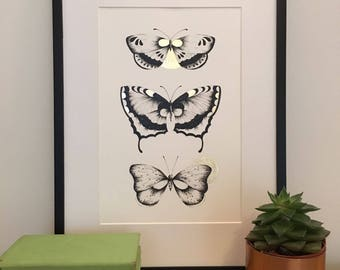 Butterflies A4 print with Gold detail